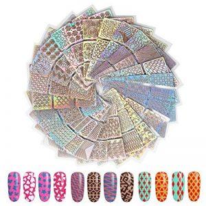 144 pièces Pochoirs Vinyles Ongles Stickers Ongles Nail Art Sticker Décoration Nail DIY Outil de décoration Stickers design d'art, 4 feuilles 72 modèles différents Stickers Déco Nail Art de la marque Fodlon image 0 produit