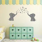 2mignon éléphants Blowing Bubbles Stickers muraux Notes de musique Musique Rhythm mural en vinyle Stickers muraux pour bébé Décoration chambre Chambre d'enfant de la marque MAFENT image 1 produit