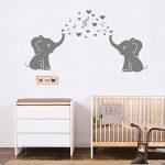 2mignon éléphants Blowing Bubbles Stickers muraux Notes de musique Musique Rhythm mural en vinyle Stickers muraux pour bébé Décoration chambre Chambre d'enfant de la marque MAFENT image 4 produit