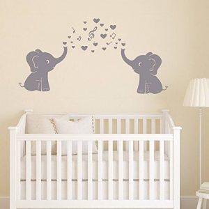 2mignon éléphants Blowing Bubbles Stickers muraux Notes de musique Musique Rhythm mural en vinyle Stickers muraux pour bébé Décoration chambre Chambre d'enfant de la marque MAFENT image 0 produit