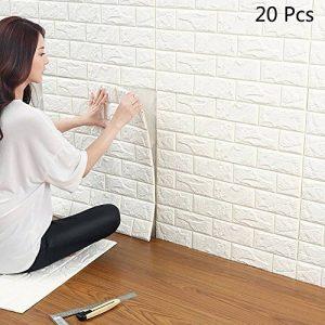 20 Pcs Stickers Muraux 3d Brique, YTAT Papier Peint Briques 3d, DIY Auto-Adhésif Autocollants la Maison Chambre, Salle de Bain, Salon, Cuisine, 60 * 60cm (20) de la marque YTAT Ied image 0 produit