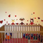 23 pièces Coccinelle Fille Sticker mural pour chambre de Chambre de bébé, multicolore, 2x 16x26cm de la marque Samunshi image 2 produit