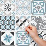 (24 Pieces) carrelage adhésif 20x20 cm - PS00054 - Oslo - Adhésive décorative à Carreaux pour Salle de Bains et Cuisine Stickers carrelage - Collage des tuiles adhésives de la marque wall-art image 1 produit