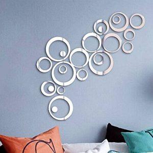 24pcs 3D Cercle Sticker Mural Miroir Autocollant en Taille Différente Decoration Muale de la Maion Effet Mirroir (4pcs par chaque taille) de la marque DEOMOR image 0 produit