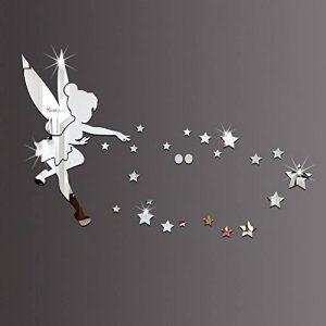 26pcs/Ensemble de fée clochette Miroir mural Acrylique Miroir décoratif Fée Clochette Stickers muraux Décoration de la Maison de la marque MEYA image 0 produit