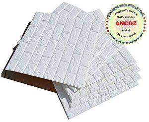 3D Imitation Brique Blanc Stickers Muraux,DIY Papier Peint Décoratif Auto-Adhésif Imperméable 60x60 (10 PCS) de la marque Ancoz image 0 produit