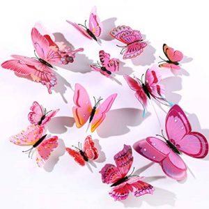 3D Stickers Muraux de Papillons,Décoration pour Chambre Enfants et Filles,12 Pièces,Rose de la marque Derbway image 0 produit