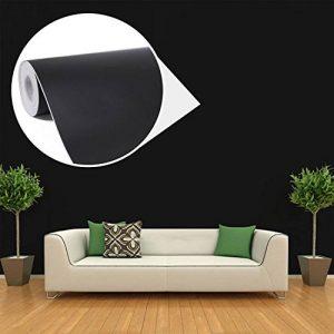 45cmx10M Imperméable Papier Peint Auto-Adhésif Trompe l'oeil Stickers Autocollant Muraux Décoration Murale pour Chambre Salon Meuble, Noir de la marque JUNXAVE image 0 produit
