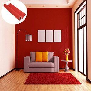 45cmx10M Imperméable Papier Peint Auto-Adhésif Trompe l'oeil Stickers Autocollant Muraux Décoration Murale pour Chambre Salon Meuble, Rouge de la marque JUNXAVE image 0 produit