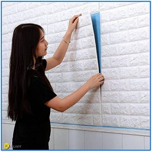 5 PCS 3D papier peint brique ,autocollant de mur de mousse de PE amovible et de bâton de PE pour le bureau à la maison de salon (blanc brique 5 pièce) - 60 x 60 cm de la marque Kasliny image 0 produit