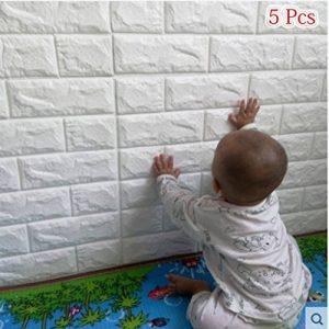 5 PCS Stickers Muraux 3d Brique, YTAT DIY Auto-Adhésif Autocollants Imperméable Papier Peint Décoration pour la Maison Bureau Grande Brique, étanches Amovible Stéréoscopique Décorations, 60*60cm (5) de la marque YTAT Ied image 0 produit