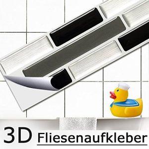 5er Set 25,3 x 4,3 cm Grandora Mosaïque 3D autocollant pour carrelage W5420 auto-adhésif cuisine salle de bain Stickers muraux Tuiles décoratives Film Noir Gris Argent brique de la marque Grandora image 0 produit
