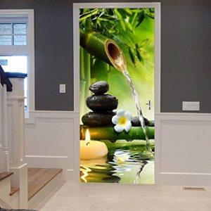 A.Monamour Stickers Muraux Autocollants Yoga Méditation Idée Vert Bambou Eau Paysage Naturel 3D Imprimer Vinyle Chambre Porte Autocollants Peintures Murales Autocollants Affiches Bricolage Art Décors de la marque A-Monamour image 0 produit