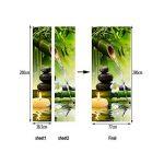 A.Monamour Stickers Muraux Autocollants Yoga Méditation Idée Vert Bambou Eau Paysage Naturel 3D Imprimer Vinyle Chambre Porte Autocollants Peintures Murales Autocollants Affiches Bricolage Art Décors de la marque A-Monamour image 1 produit