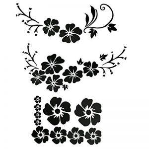 ACBungji Stickers autocollants fleur d'hibiscus voiture pare-chocs frigo mur porte (Noir #2) de la marque ACBungji image 0 produit