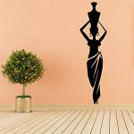 Africaine Femme Fille Vinyle Stickers Muraux Salon Afrique Culture Danse Style Pichet Vase Sticker Décor À La Maison Motif 30x110 cm de la marque WALSITK image 1 produit