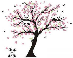 AIYANG Cerisier mur Décalcomanie Panda mur Autocollants Stickers Muraux Pour la Chambre du bébé Chambres d'enfants (rose) de la marque AIYANG image 0 produit