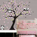 AIYANG Cerisier mur Décalcomanie Panda mur Autocollants Stickers Muraux Pour la Chambre du bébé Chambres d'enfants (rose) de la marque AIYANG image 1 produit
