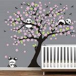 AIYANG Cerisier mur Décalcomanie Panda mur Autocollants Stickers Muraux Pour la Chambre du bébé Chambres d'enfants (rose) de la marque AIYANG image 2 produit