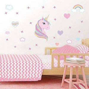 AIYANG Licorne Mur Autocollants Compte Mur de l'art de Les Couleurs de l'arc en Ciel Les cœurs Les étoiles Mur des Autocollants pour Chambre des Filles de décoration de la marque AIYANG image 0 produit