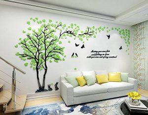 Alicemall Stickers Arbre Mural 3D Autocollants en Acrylique avec des Feuilles et des Oiseaux pour Décoration de la Maison (style 2(feuilles vertes vers droite)) de la marque Asvert image 0 produit