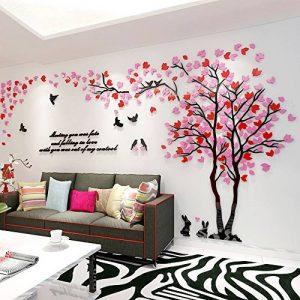 Alicemall Stickers Arbre Mural 3D Autocollants en Acrylique avec des Feuilles Multicolores pour Décoration de la Maison (style 2(feuilles rose et rouge vers gauche)) de la marque Asvert image 0 produit