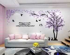 Alicemall Stickers Arbre Mural 3D Autocollants en Acrylique avec des Feuilles Multicolores pour Décoration de la Maison (Style 2 Feuilles Violettes vers Gauche) de la marque Asvert image 0 produit