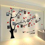 Alicemall Stickers Autocollants Muraux Amovibles 3D en Acrylique Arbre avec des Branches Incurvées et des Cadres de Photo et des Oiseaux (Arbre avec Feuilles Rouges) de la marque Alicemall image 1 produit