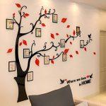 Alicemall Stickers Autocollants Muraux Amovibles 3D en Acrylique Arbre avec des Branches Incurvées et des Cadres de Photo et des Oiseaux (Arbre avec Feuilles Rouges) de la marque Alicemall image 2 produit