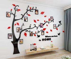 Alicemall Stickers Autocollants Muraux Amovibles 3D en Acrylique Arbre avec des Branches Incurvées et des Cadres de Photo et des Oiseaux (Arbre avec Feuilles Rouges) de la marque Alicemall image 0 produit