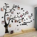 Alicemall Stickers Autocollants Muraux Amovibles 3D en Acrylique Arbre avec des Branches Incurvées et des Cadres de Photo et des Oiseaux (Feuilles Noires) de la marque Alicemall image 2 produit