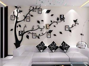Alicemall Stickers Autocollants Muraux Amovibles 3D en Acrylique Arbre avec des Branches Incurvées et des Cadres de Photo et des Oiseaux (Feuilles Noires) de la marque Alicemall image 0 produit