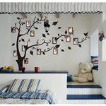 Alicemall Stickers Autocollants Muraux Amovibles 3D en Acrylique Arbre avec des Branches Incurvées et des Cadres de Photo et des Oiseaux (Feuilles Noires) de la marque Alicemall image 1 produit