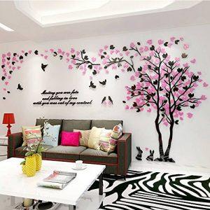 Alicemall Stickers Muraux 3D Autocollants en Acrylique Arbre avec des Feuilles Multicolores pour Décoration de la Maison (style 2(feuilles rose et noir vers gauche)) de la marque Asvert image 0 produit