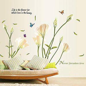 Alicemall Stickers Muraux 3D Autocollants en PVC pour Décoration de la Maison (Fleur Blanc) de la marque Alicemall image 0 produit