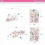 Alicemall Stickers Muraux Fleur de pêcher en PVC 3D Autocollants Imperméable à L'eau Adhésif pour Décoration de la Maison Salon Chambre(Fleur de pêcher et Oiseaux) de la marque Alicemall image 4 produit