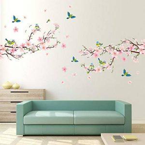 Alicemall Stickers Muraux Fleur de pêcher en PVC 3D Autocollants Imperméable à L'eau Adhésif pour Décoration de la Maison Salon Chambre(Fleur de pêcher et Oiseaux) de la marque Alicemall image 0 produit