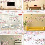 Alicemall Stickers Muraux Fleur de pêcher en PVC 3D Autocollants Imperméable à L'eau Adhésif pour Décoration de la Maison Salon Chambre(Fleur de pêcher et Oiseaux) de la marque Alicemall image 3 produit