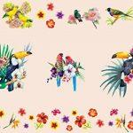 Aquarelle Tropical Oiseaux avec de magnifiques Fleurs stickers Peel et bâton Stickers muraux pour chambre d'enfant Chambre à coucher bébé fille enfants Décorations de salles de la marque Prodesign image 2 produit
