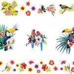 Aquarelle Tropical Oiseaux avec de magnifiques Fleurs stickers Peel et bâton Stickers muraux pour chambre d'enfant Chambre à coucher bébé fille enfants Décorations de salles de la marque Prodesign image 1 produit