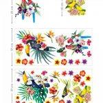 Aquarelle Tropical Oiseaux avec de magnifiques Fleurs stickers Peel et bâton Stickers muraux pour chambre d'enfant Chambre à coucher bébé fille enfants Décorations de salles de la marque Prodesign image 3 produit