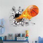 ASIV Sticker de mur de basketball 3D Decal pour la décoration à la maison, autocollants de mur démontables pour Grils, grandes décorations de mur pour l'autocollant de salon, 50 * 70cm de la marque Asiv image 1 produit