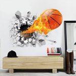 ASIV Sticker de mur de basketball 3D Decal pour la décoration à la maison, autocollants de mur démontables pour Grils, grandes décorations de mur pour l'autocollant de salon, 50 * 70cm de la marque Asiv image 3 produit