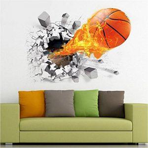 ASIV Sticker de mur de basketball 3D Decal pour la décoration à la maison, autocollants de mur démontables pour Grils, grandes décorations de mur pour l'autocollant de salon, 50 * 70cm de la marque Asiv image 0 produit