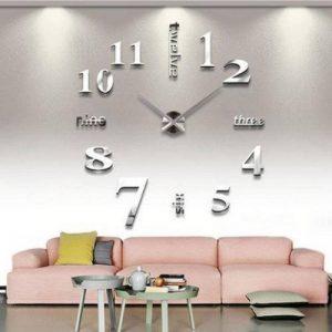 Asvert Horloge Murale Geante 3D DIY Design Moderne Pendule Murale Décorations Numérique en Acrylique pour Salon (Argent-1) de la marque Asvert image 0 produit