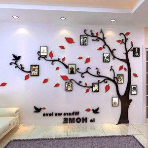 Asvert Stickers Autocollants Muraux 3D en Acrylique Arbre avec des Branches Incurvées et des Cadres de Photo et des Oiseaux (XL, Noir et Rouge vers Gauche) de la marque Asvert image 0 produit