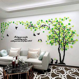 Asvert Stickers Muraux 3D Autocollants pour Fenêtre Murale Décoration Chambre Salon (Style 2(Feuilles Vertes foncé et Clair vers Gauche)) de la marque Asvert image 0 produit