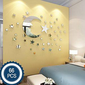 ATFUNSHOP Stickers muraux Miroir Lune et décoration de la Maison étoile pour la réflexion d'argent de Salon d'enfants de la marque ATFUNSHOP image 0 produit