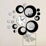 Auntwhale Creative Noir Rond Grand Horloge Murale Miroir Horloge Murale Mode Moderne Design Amovible Bricolage Acrylique 3D Miroir Murale Sticker Autocollant Mural Décoration 60X45cm (1) de la marque Auntwhale image 0 produit
