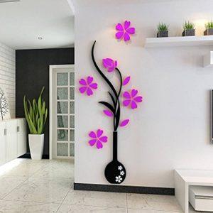 autocollant 3D vase en Acrylique en forme de vase muraux pour chambre salon entrée TV, mur de toile de fond à la maison d'hiver de la marque SwirlColor image 0 produit